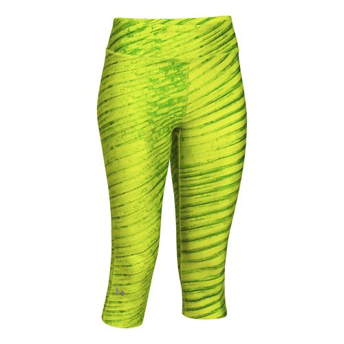 Womens Under Armour Heatgear Armour Printed Capri Tights - Speed Green/X-Ray XS