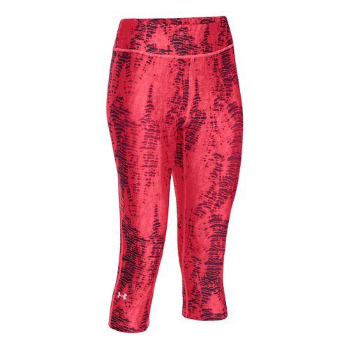Womens Under Armour Heatgear Armour Printed Capri Tights - Pink/Silver M