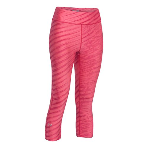Womens Under Armour Heatgear Armour Printed Capri Tights - Pink/Pink XS