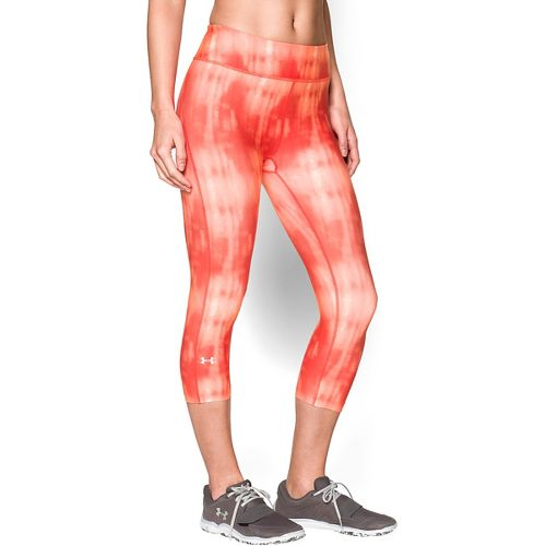 Womens Under Armour Heatgear Armour Printed Capri Tights - Dark Orange/Silver L