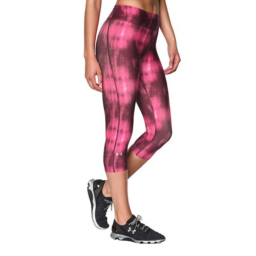 Womens Under Armour Heatgear Armour Printed Capri Tights - Ox Blood/Rebel Pink S