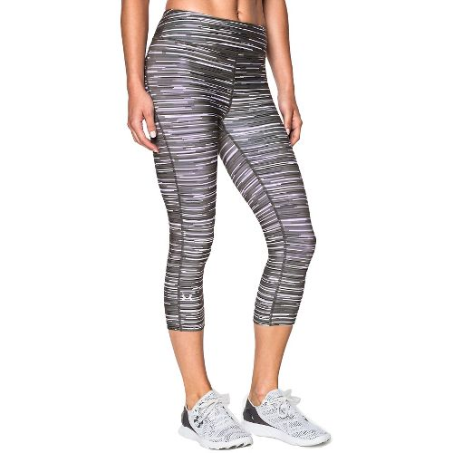 Womens Under Armour Heatgear Armour Printed Capri Tights - Ox Blood/Rebel Pink L