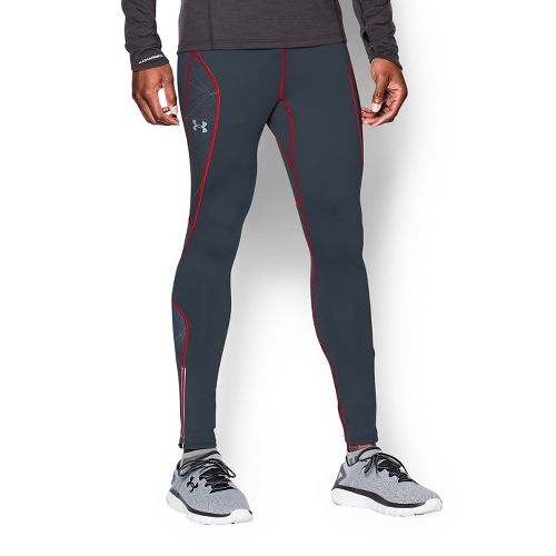 Mens Under Armour Coldgear Infrared Run Full Length Tights - Wire/Red XXL