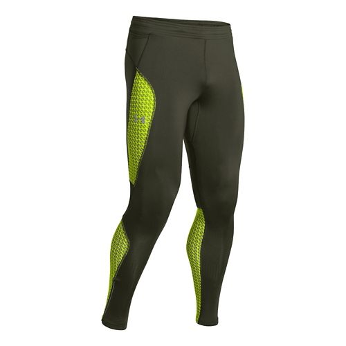 Mens Under Armour Coldgear Infrared Run Full Length Tights - Rifle Green M