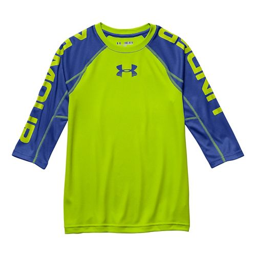 Kids Under Armour Tech 3/4 Sleeve Tee Short Sleeve Technical Tops - Risk Red YL ...