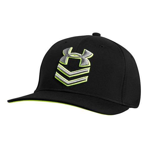 Mens Under Armour Undeniable Stretch Fit Cap Headwear - Black/HighVis Yellow L/XL