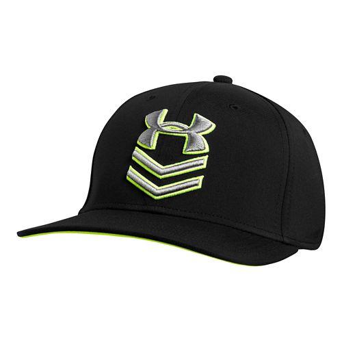 Mens Under Armour Undeniable Stretch Fit Cap Headwear - Black/HighVis Yellow M/L