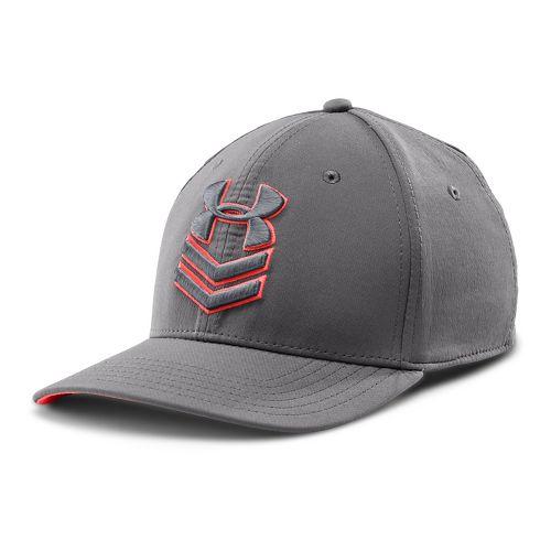 Mens Under Armour Undeniable Stretch Fit Cap Headwear - Graphite/After Burn L/XL