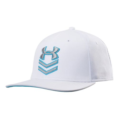 Mens Under Armour Undeniable Stretch Fit Cap Headwear - White/Island Blues M/L