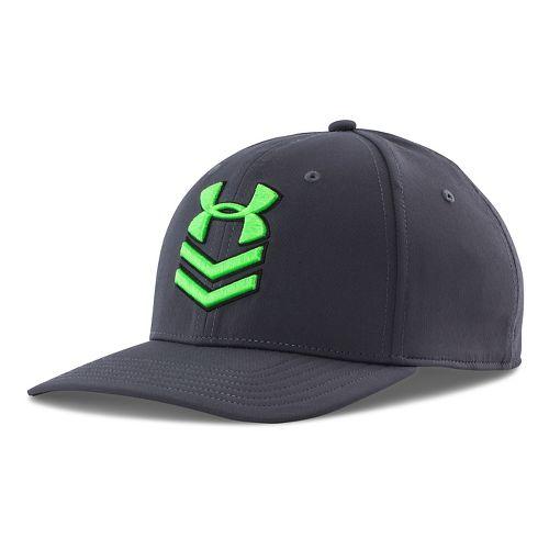 Mens Under Armour Undeniable Stretch Fit Cap Headwear - Rough/Green Energy M/L