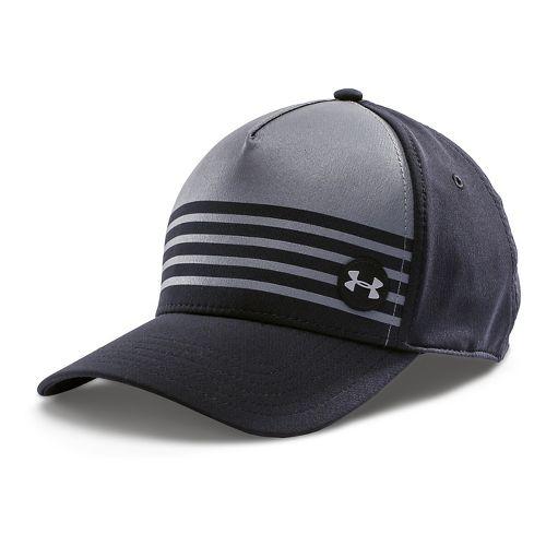 Mens Under Armour Striped Out Stretch Fit Cap Headwear - Black/Graphite XL/XXL