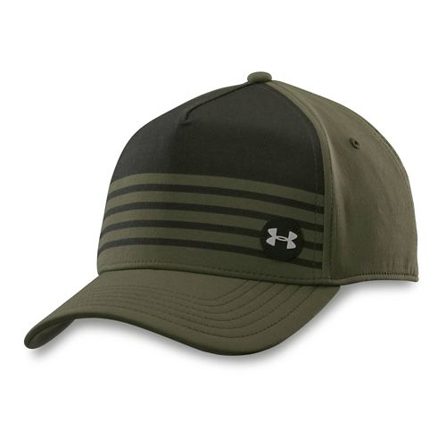 Mens Under Armour Striped Out Stretch Fit Cap Headwear - Rough/Black M/L
