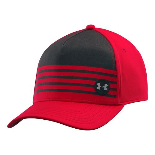 Mens Under Armour Striped Out Stretch Fit Cap Headwear - Red/Black L/XL