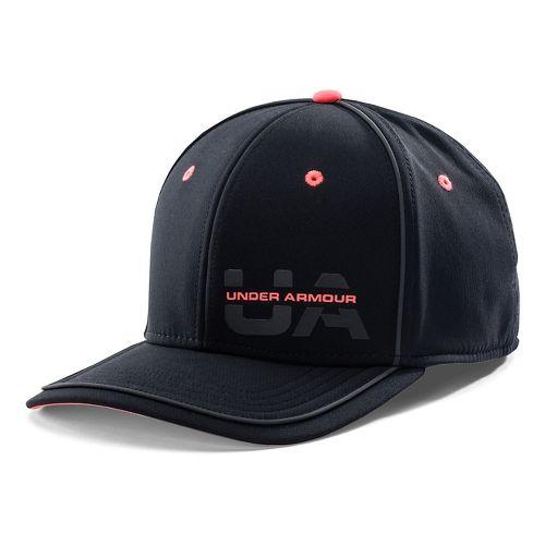 Mens Under Armour Flash Pop Stretch Fit Cap Headwear - Black/After Burn L/XL