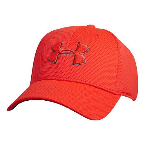 Mens Under Armour Blitzing II Stretch Fit Cap Headwear - Bolt Orange M/L