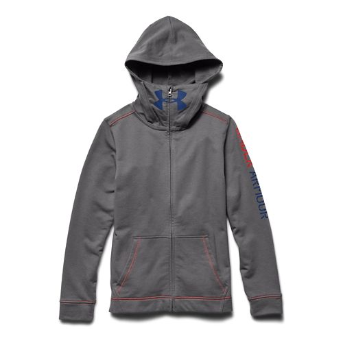 Kids Under Armour Warrior Terry Warm Up Hooded Jackets - Graphite/Blue YXL