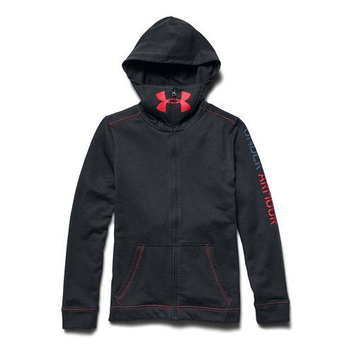 Kids Under Armour Warrior Terry Warm Up Hooded Jackets - Graphite/Blue YXL