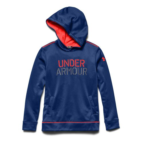 Kids Under Armour Fleece Word Warm Up Hooded Jackets - Blue/Graphite YM
