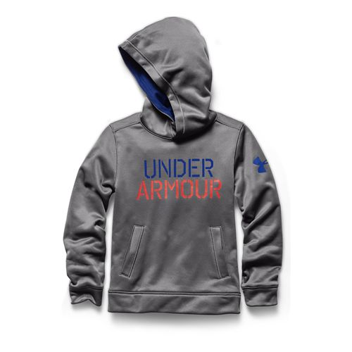 Kids Under Armour Fleece Word Warm Up Hooded Jackets - Risk Red/Thunder YXS