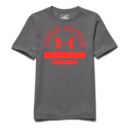 Kids Under Armour Classic Script Tee Short Sleeve Technical Tops - Risk Red YL