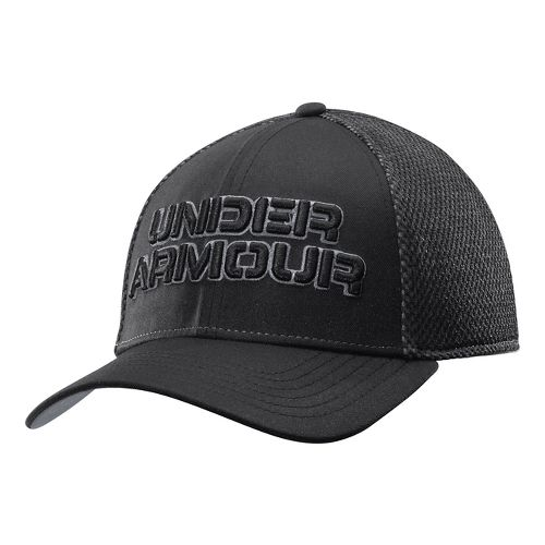 Mens Under Armour Word Mesh Stretch Fit Cap Headwear - Black/Steel L/XL