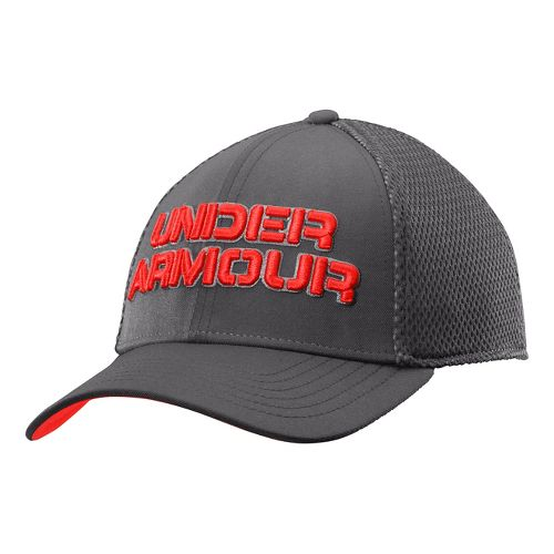 Mens Under Armour Word Mesh Stretch Fit Cap Headwear - Graphite/Steel L/XL