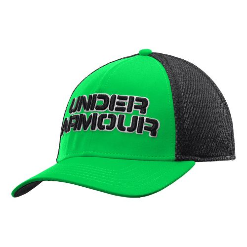 Mens Under Armour Word Mesh Stretch Fit Cap Headwear - Green Energy/White M/L