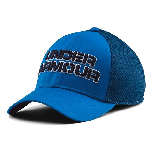 Mens Under Armour Word Mesh Stretch Fit Cap Headwear - Blue Jet/White L/XL