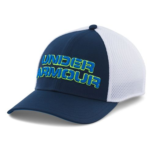 Mens Under Armour Word Mesh Stretch Fit Cap Headwear - Academy/Blue Jet M/L