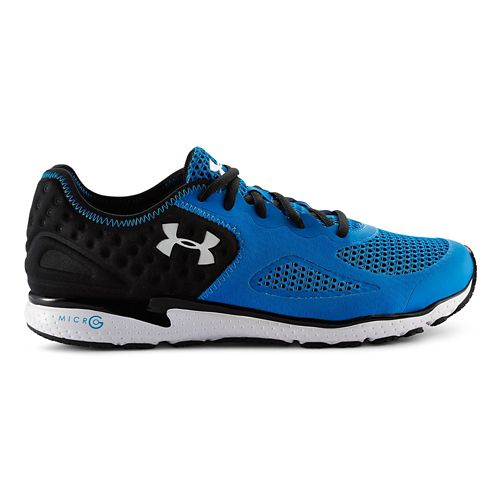 Mens Under Armour Micro G Mantis II Running Shoe - Black/Blue Jet 10