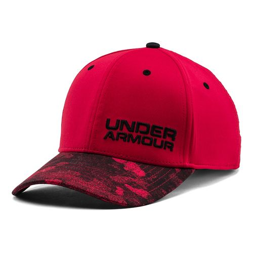 Mens Under Armour Bark Camo Stretch Fit Cap Headwear - Red/Black XL/XXL