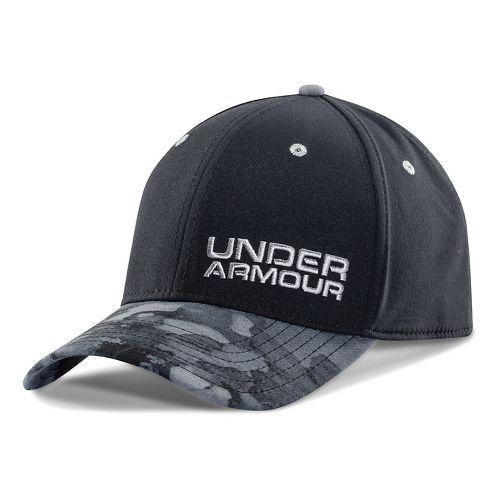 Mens Under Armour Bark Camo Stretch Fit Cap Headwear - Midnight Navy/Royal M/L