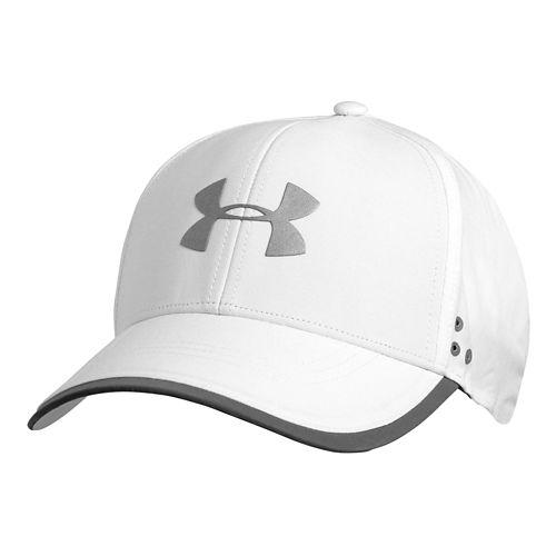 Mens Under Armour Flash Adjustable Run Cap Headwear - White/Reflective