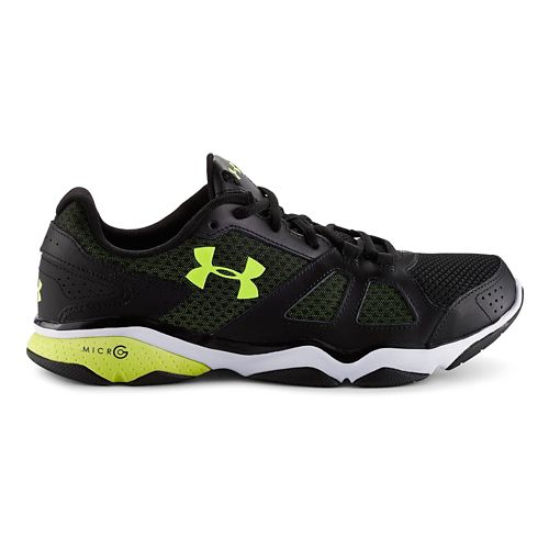 Mens Under Armour Micro G Strive V Cross Training Shoe - Black/HighVis Yellow 8