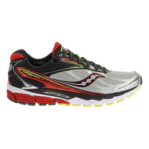 Mens Saucony Ride 8 Running Shoe - Silver/Red 10.5