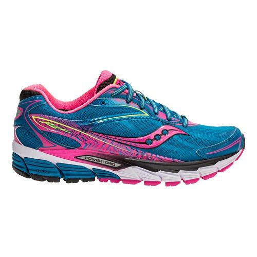 Womens Saucony Ride 8 Running Shoe - Deepwater/Pink 8.5