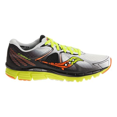 Mens Saucony Kinvara 6 Running Shoe - White/Citron 7