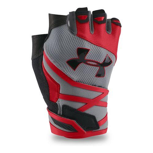 Mens Under Armour Resistor Glove Handwear - Steel/Red M