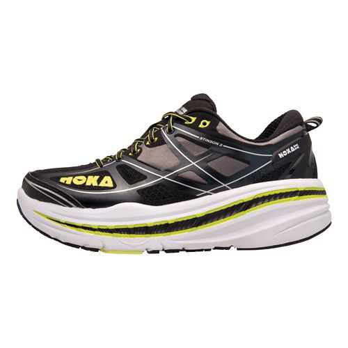 Mens Hoka One One Stinson 3 Running Shoe - Anthracite/Yellow 12
