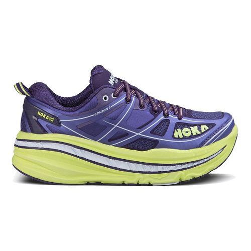 Womens Hoka One One Stinson 3 Running Shoe - Blue/Sunny Lime 5