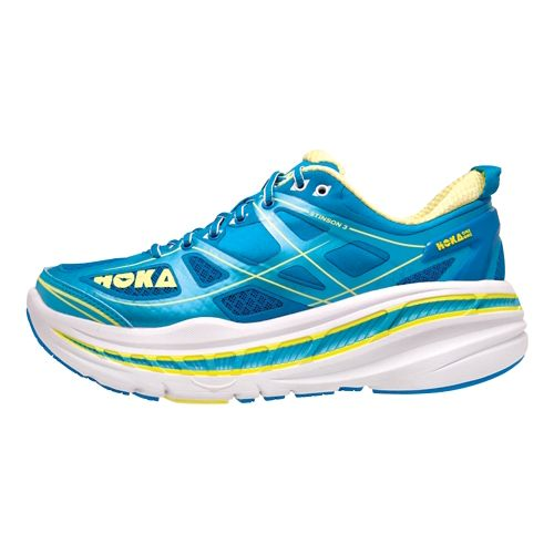 Womens Hoka One One Stinson 3 Running Shoe - Blue/Yellow 5.5