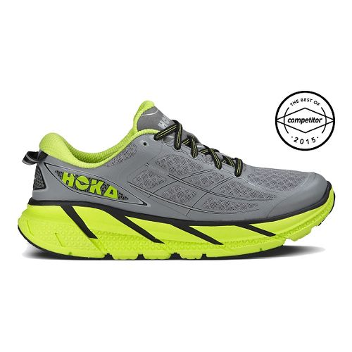 Mens Hoka One One Clifton 2 Running Shoe - Grey/Yellow 9.5