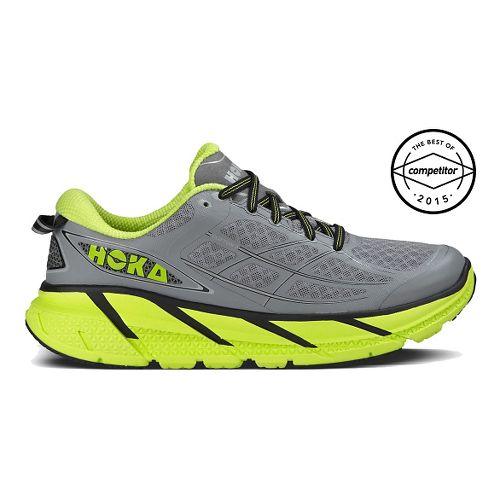Mens Hoka One One Clifton 2 Running Shoe - Grey/Yellow 8.5