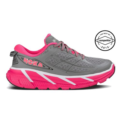 Womens Hoka One One Clifton 2 Running Shoe - Grey/Pink 7.5