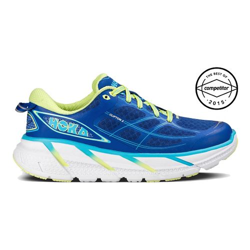 Womens Hoka One One Clifton 2 Running Shoe - Blue/Yellow 8