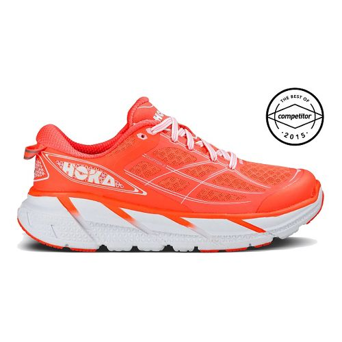 Womens Hoka One One Clifton 2 Running Shoe - Coral/White 7