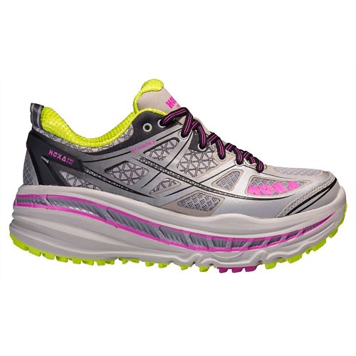 Womens Hoka One One Stinson 3 ATR Trail Running Shoe - Grey/Fuchsia 7.5