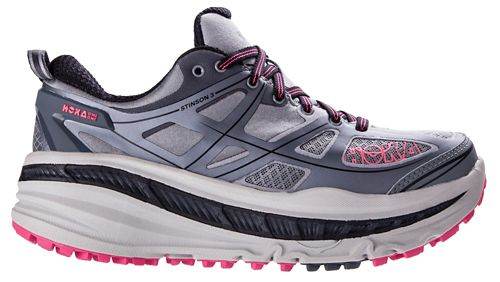 Womens Hoka One One Stinson 3 ATR Trail Running Shoe - Grey/Pink 10.5