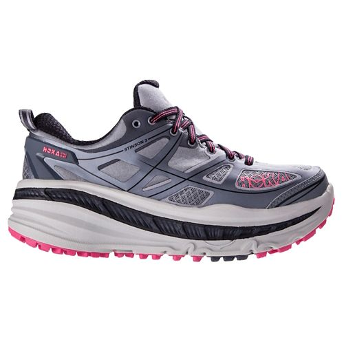 Womens Hoka One One Stinson 3 ATR Trail Running Shoe - Grey/Pink 7.5