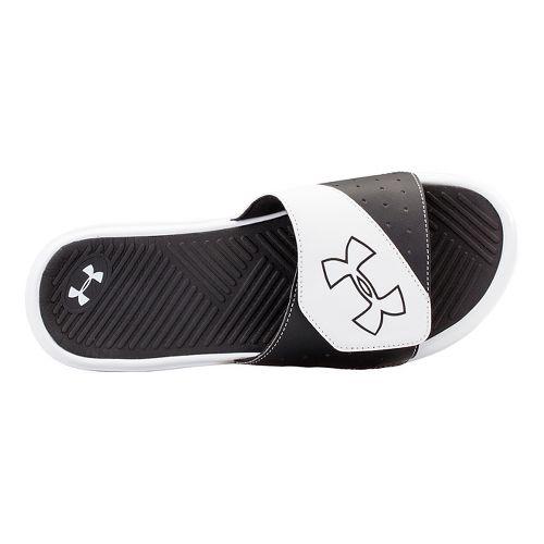 Mens Under Armour Playmaker V SL Sandals Shoe - White/Black 11